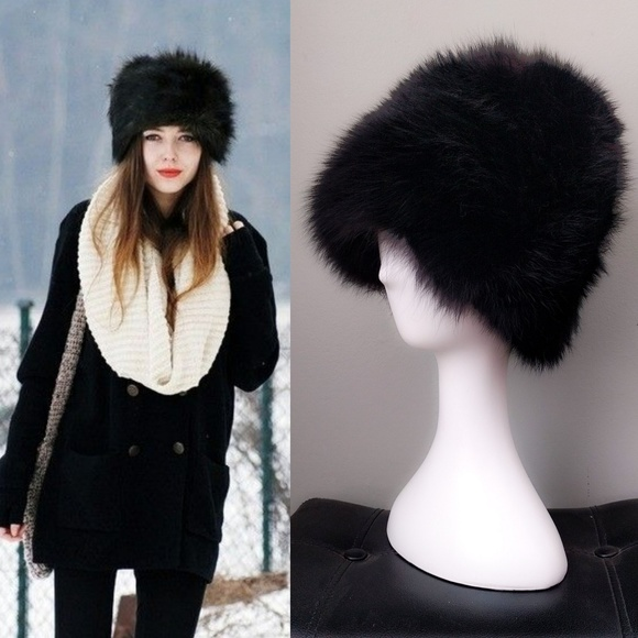 56f9cdeca Vintage Tall Black Fox Fur Cossack Russian Hat